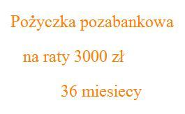 pożyczka pozabankowa na raty 3000 zł 36 miesięcy