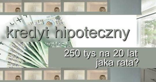 Kredyt 250 tys na 20 lat jaka rata? Hipoteczny