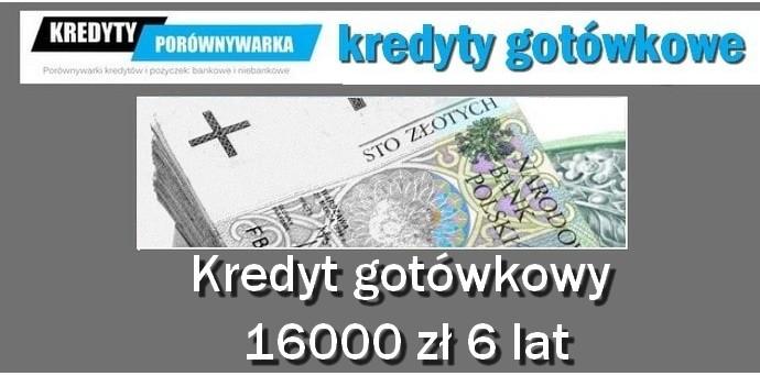 kredyt gotówkowy 16000 zł 6 lat