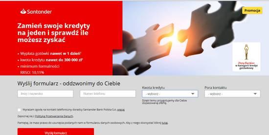 wniosek o kredyt konsolidacyjny Santander Bank