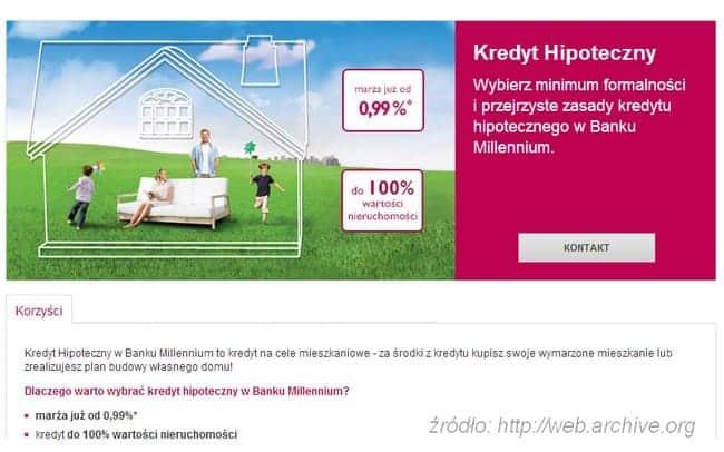 kredyt hipoteczny 95% wartości nieruchomości millennium bank w 2013 roku