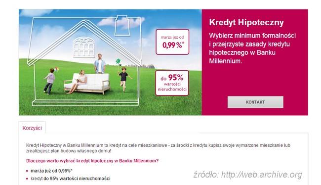kredyt hipoteczny 95% wartości nieruchomości millennium bank